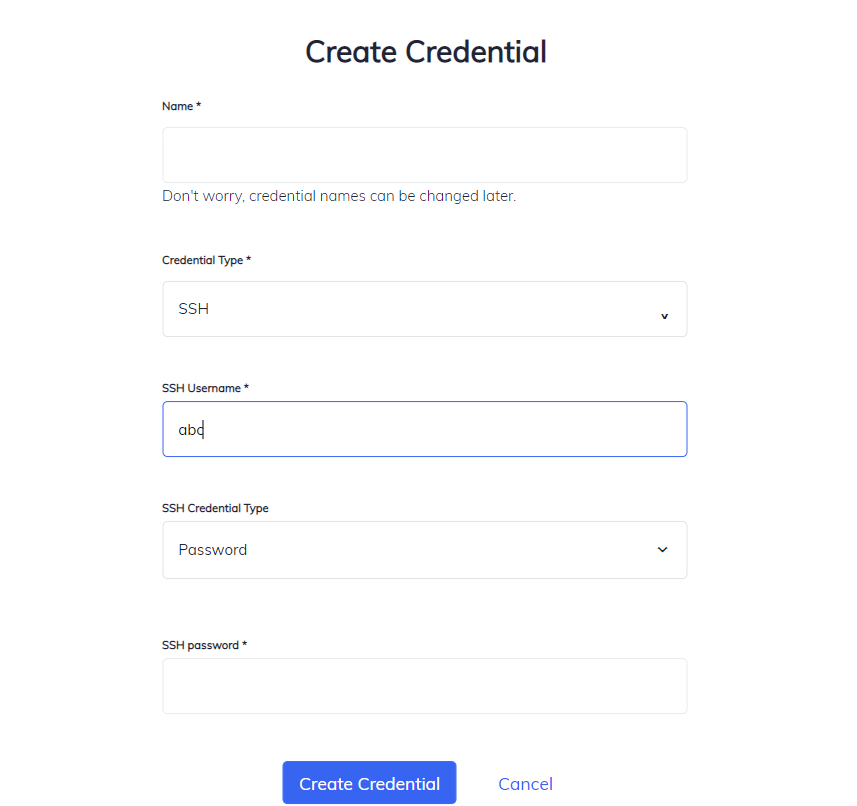 SSH Credential Form